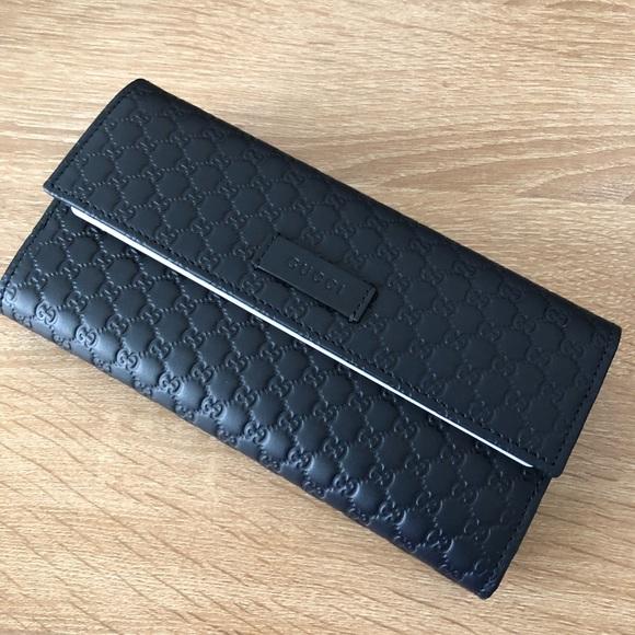2df5052c1fe6 Gucci Bags   Women Leather Gg Logo Walletmidnight Blue   Poshmark